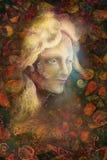 De vrouwengezicht van de Fairytalefee op abstracte achtergrond met ornamenten royalty-vrije illustratie