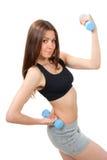 De vrouweninstructeur van de geschiktheid het weightlifting Stock Foto's