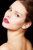 De vrouwenmodel van de manier met de heldere samenstelling van steenlippen Royalty-vrije Stock Afbeelding