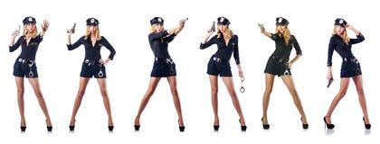 De vrouwenpolitieman op wit stock foto