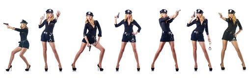 De vrouwenpolitieman op wit wordt geïsoleerd dat stock afbeeldingen