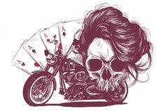 de vrouwenschedel van de illustratiemotorfiets met speelkaartenpook royalty-vrije illustratie