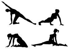 De vrouwensilhouet van de yoga stock illustratie