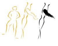 De vrouwensilhouetten van de man Stock Afbeeldingen