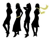 De vrouwensilhouetten van de manier Stock Foto