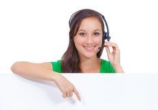 De vrouwenteken van de call centrehoofdtelefoon stock foto's