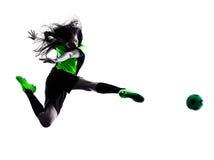 De vrouwenvoetballer isoleerde silhouet Royalty-vrije Stock Afbeelding