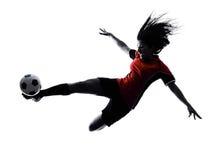 De vrouwenvoetballer isoleerde silhouet Stock Afbeeldingen