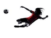 De vrouwenvoetballer isoleerde silhouet Royalty-vrije Stock Fotografie