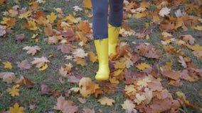 De vrouwenvoeten in Laarzen gaan op het Park in de Autumn And Kick Yellow Fallen-Bladeren stock videobeelden