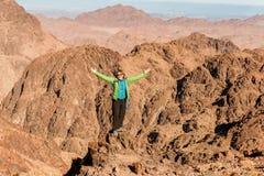 De vrouwenwandelaar met rugzak geniet van mening in woestijn royalty-vrije stock foto