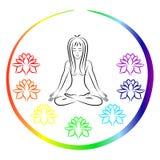 De vrouwenzitting in Yoga stelt Stock Afbeeldingen
