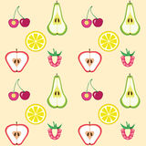 De vruchten en de bessen sneden naadloos patroon Stock Foto's