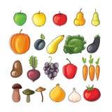 De vruchten en de groenten van de herfst Vlakke vectorillustratie Stock Illustratie