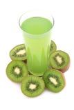 De vruchten en het sap van de kiwi Stock Foto