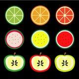 De vruchten, sinaasappel, citroen, watermeloen, appel zijn kleurrijk Royalty-vrije Stock Fotografie