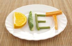 De vruchten van het dieet plaat Stock Afbeeldingen