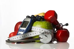 De vruchten van stethoscoopglucometer en domoren, Diabetesconcept Stock Afbeeldingen