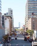 De vue de sud 11ème avenue vers le bas à Manhattan Image libre de droits