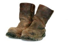 De vuile Oude Laarzen van Bouwers Stock Afbeeldingen