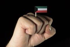 De vuist van de mensenhand met Koeweitse die vlag op zwarte achtergrond wordt geïsoleerd Stock Afbeelding