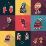 De vuisthandschoenen van de winterhoeden geplaatst vlak ontwerp Royalty-vrije Stock Foto's