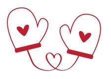 De Vuisthandschoenen van het de Daghart van hartvalentijnskaarten Royalty-vrije Stock Afbeeldingen