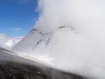 De vulkaan van Etna in de winter Stock Foto