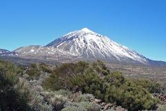 De vulkaan van Gr Teide en Montana Blanca, Tenerife, Canarische Eilanden Stock Foto