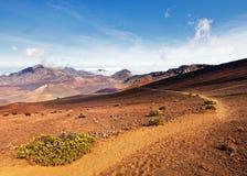De vulkaan van Hawaï Maui Haleakala wandelingssleep stock afbeelding