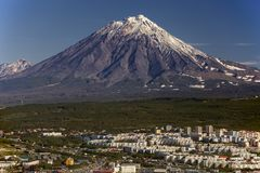 De vulkaan van Koryaksky Pertopavlovsk-Kamchatskiy Rusland Sep 2013 Royalty-vrije Stock Afbeeldingen