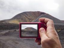 De vulkaanbeeldzoeker in camera van Etna royalty-vrije stock afbeelding