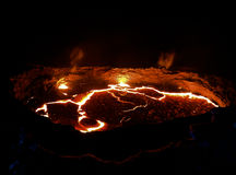 De vulkaankrater van het Ertaaal, smeltende lava, Danakil-depressie, Ethiopië stock foto