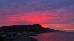 De vurige zonsopgang van Sidmouth Stock Afbeelding