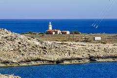 De vuurtoren bij Kaap Greco cyprus Stock Fotografie