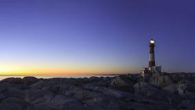 De vuurtoren bij zonsondergang Royalty-vrije Stock Foto's