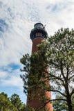 De Vuurtoren die van het Currituckstrand Vernieuwingen in Corolla ondergaan, Noord-Carolina stock afbeeldingen