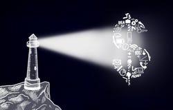 De vuurtoren glanst op dollarsymbool Royalty-vrije Stock Afbeelding