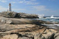 De vuurtoren Nova Scotia Canada van Peggy'cove Royalty-vrije Stock Afbeeldingen