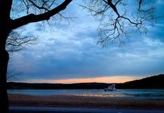 De Vuurtoren van Athen op bevroren Hudson River-NY zonsondergang Stock Afbeelding