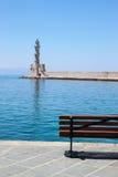 De vuurtoren van Chania, Kreta, Griekenland Stock Afbeeldingen