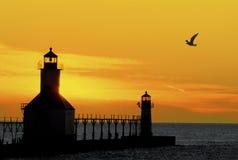 De Vuurtoren van de zonsondergang Stock Afbeelding