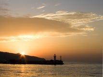De vuurtoren van de zonsondergang royalty-vrije stock foto