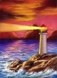 De vuurtoren van de zonsondergang stock illustratie