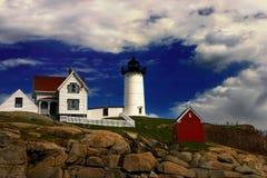 De Vuurtoren van het brokje, Maine Stock Foto