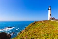 De Vuurtoren van het de Duifpunt van Californië in Cabrillo Hwy kust hwy 1 Stock Afbeeldingen