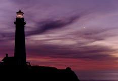 De Vuurtoren van het duifpunt bij zonsondergang, in 1871 wordt gebouwd die Royalty-vrije Stock Fotografie