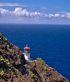 De Vuurtoren van het Makapuupunt op Oahu, Hawaï Royalty-vrije Stock Foto's