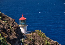 De Vuurtoren van het Makapuupunt op Oahu, Hawaï Royalty-vrije Stock Afbeeldingen