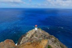 De vuurtoren van het Makapuupunt van Oahu, Hawaï Royalty-vrije Stock Afbeelding